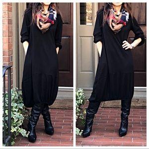 Dresses & Skirts - Black brushed soft side pocket bubble dress